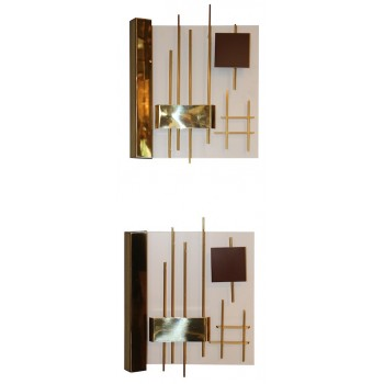 "Gio Ponti & Lumi 'Editor', Pair of Modernist Sconces, Model ""575"", Italy"