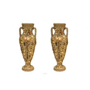 Pair of Terracotta and Shell Amphora Vases, circa 1950, France
