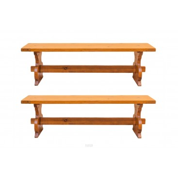 Brutalist work, Pair of solid wood benches, circa 1970, France