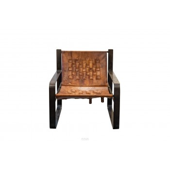 Pair of armchairs, Leather and patinated metal, circa 1970, France