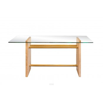 Table Desk, Roman Travertin, Glass and Gold Brass, circa 1970, France