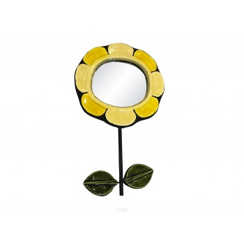 Mithé Espelt, Flower mirror, Ceramic, circa 1960, France