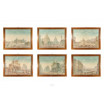 Views of Italy, Set of Six Gouaches, circa 1830, Italy