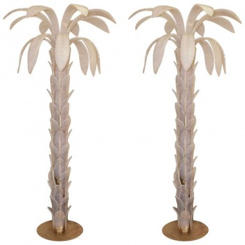 "Pair of ""Palms"" Floor lamps,  Murano glass opalescent,  Golden brass.  circa 1970, Italy."