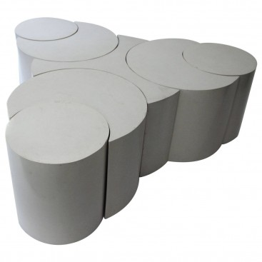 Set of Seven Coffee Tables by Ettore Sottsass in White Lacquer, circa 1970, Italy.
