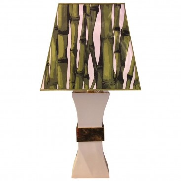 Gabriella Crespi Table Lamp in Ceramic and Gold Brass, circa 1980 Italy.