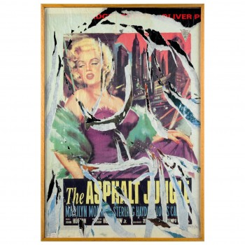 Mimmo Rotella, Marilyn Collage, Painting, Italy, 1990, Signed.