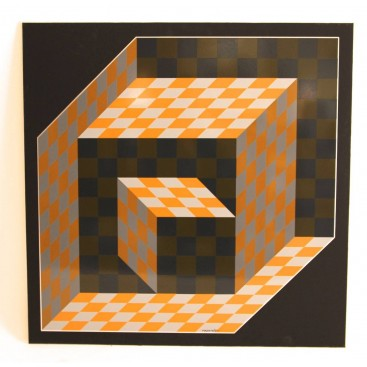 "Victor Vasarely, ""Axo"" Screen Printing on Aluminium, 1977, Signed."