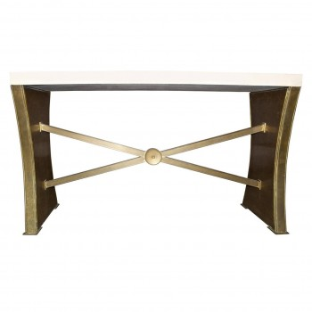 Neoclassical Console, Travertine Top and Bronze Foot, Circa 1940, Italy.