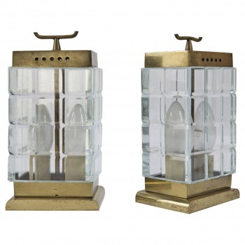 Pietro Chiesa Pair of Lamps Manufactured by Fontana Arte, Circa 1937-1938, Italy.