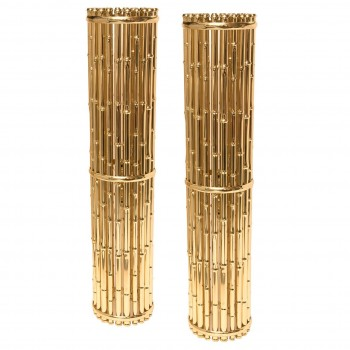 Ferruccio Laviani, Pair of Sconces, Gold-Plated Brass, Circa 2010, Italy.