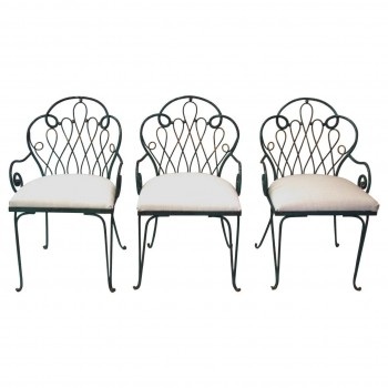 René Prou, Set of Three Chairs, Iron, Circa 1980, France.
