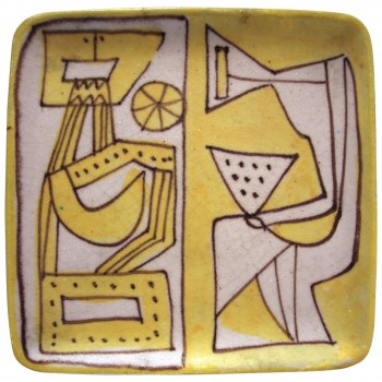Guido Gambone, Polychrome earthenware plate, signed, Circa 1960, Italy.