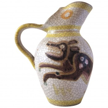 Guido Gambone, Polychrome earthenware pitcher, signed, Circa 1960, Italy.