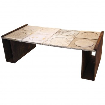 Nerone e Patuzzi, Coffee table, travertine top and iron, Circa 1966, Italy.
