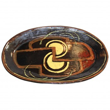 Anne Dangar Glazed Ceramic Plate, circa 1930, France.