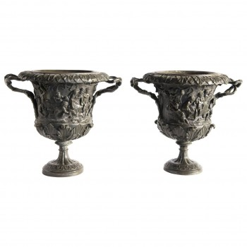M. Amodio, Pair of Carved Bronze Vases, Naples, Grand Tour, Circa 1880, Italy.