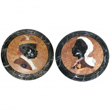 Pair of Medallions, Carved Marble and Semi-Precious Stones, circa 2000, Italy.