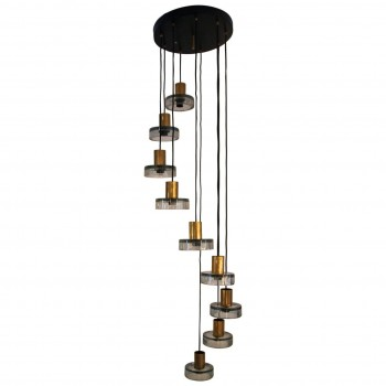 Flavio Poli, Suspension Light in Glass and Polished Brass, Circa 1970, Italy.