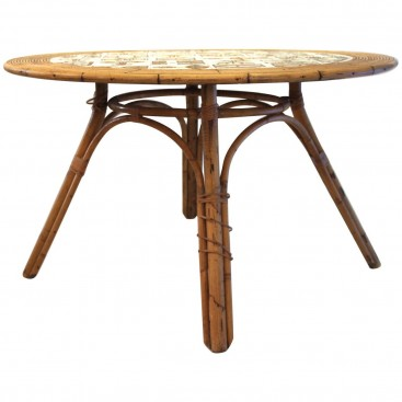 Audoux-Minet Table with Ceramic Top by Roger Capron, circa 1960, France.