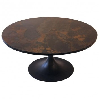 Ligne Roset, coffee table, iron and slate, circa 1970, France.