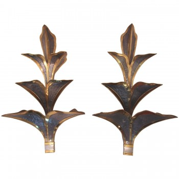 Maison Jansen, Pair of Sconces, Gold-Plated Brass and Metal, Circa 1970, France.