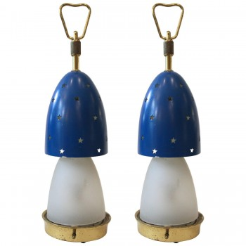 "Angelo Lelli, Pair of Table Lamps, Model ""Stelline,"" Circa 1950, Italy."