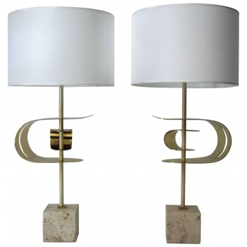 Angelo Brotto, Pair of lamps, brass and travertine base, circa 2000, Italy.