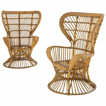 "Lio Carminati, Pair of Armchairs ""Conte Biancamano"", Production Casa e Giardino."