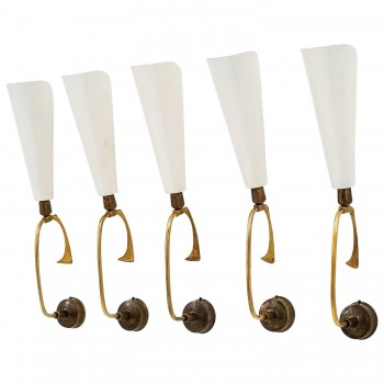 Arredoluce, Series of five sconces, circa 1950, Italy.