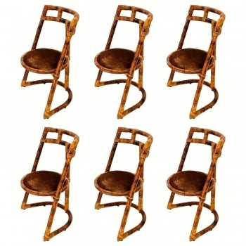 Set of six chairs, Bamboo, Circa 1970, France.