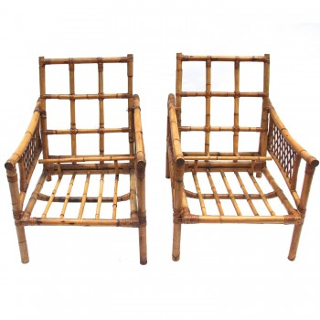 Pair of Armchairs, Bamboo, circa 1970, France.