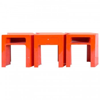 Set of Three Tables, Red Fiberglass,  Circa 1970, France.