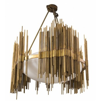 Fedele Papagni, Chandelier, gilt bronze and opaline rods, Circa 1980, Italy.