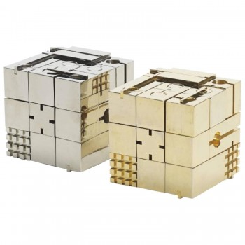Franco Rocco, « Scaccomatto Chess set » pair of game cubes, signed, Italy.