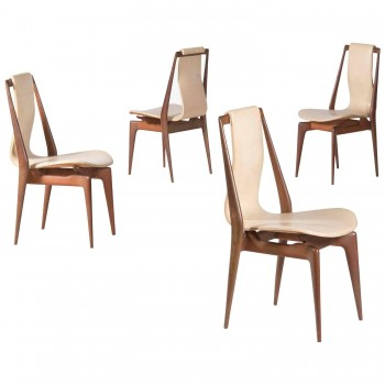 Apelli and Varesio Atelier, set of four chairs, circa 1955, Italy.