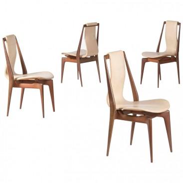 Apelli and Varesio Atelier, set of four chairs, circa 1955, Italy.