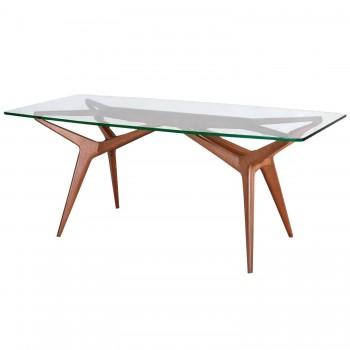 Apelli and Varesio Atelier, Table, Glass and Mahogany, circa 1955, Italy