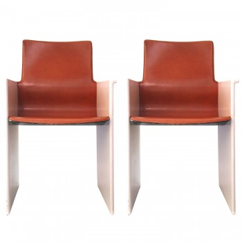 Scarpa,Pair of armchairs, Leather and pink lacquer Circa 1970, France.