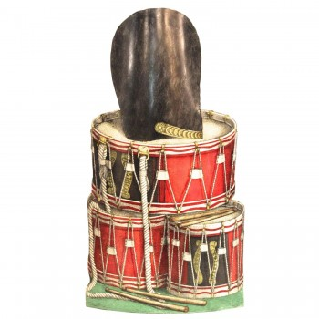 Fornasetti, Tambour Stand, Lithography on Metal Stand, Circa 1950.