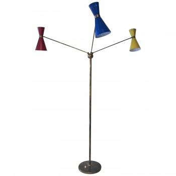 Triennale Floor Lamp with Three Lights, Brass and Metal, Circa 1960, Italy.