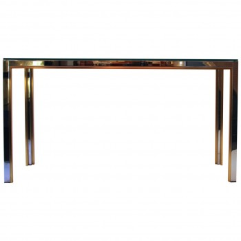 Romeo Rega, Console, Gold-Plated Brass and Steel, Circa 1970, Italy.