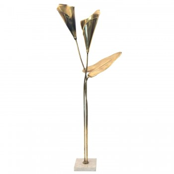 Floor Lamp, Gold-Plated Brass, Marble Top, Circa 1970, France.