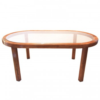 Dining Room Table, Bamboo and Colored Glass, Circa 1970, France