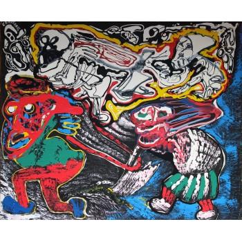 André Cervera, Dans les sillons de la mort, Painting, Acrylic on canvas, Signed, 1991, France.