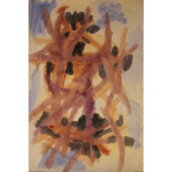 Jacob Semiatin, Painting, Watercolor on paper Signed, Circa 1950, USA.