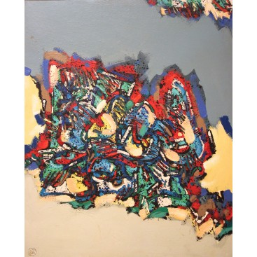 "Patrick Danion, painting, ""Nature morte"", Acrylic on wood, Signed, 1988, France."