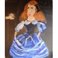 "Horacio Cordero, painting, ""The Infanta Margarita Teresa"", Oil on canvas, Signed, 2009, Argentina."