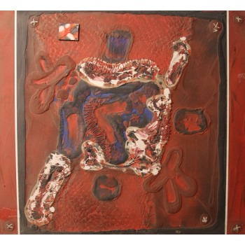 Patrick Danion, Transcription bouclier, Painting, Acrylic on wood, Signed, 1991, France.