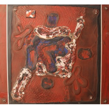 Patrick Danion, Painting, Transcription bouclier, Acrylic on wood, Signed, 1991, France.